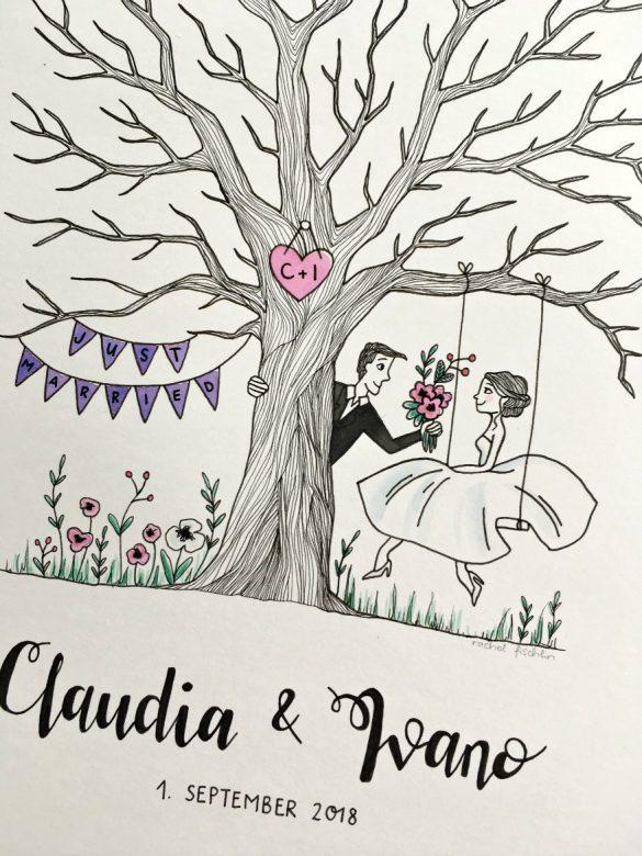 Fingerabdruck-Hochzeitsbaum